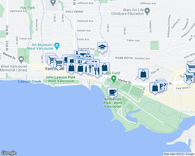 map of restaurants, bars, coffee shops, grocery stores, and more near 1355 Bellevue Avenue in West Vancouver