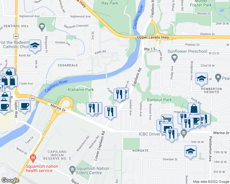 map of restaurants, bars, coffee shops, grocery stores, and more near 1890 Fullerton Avenue in North Vancouver