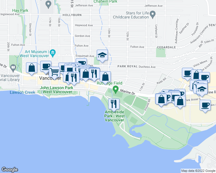 map of restaurants, bars, coffee shops, grocery stores, and more near 445 13th Street in West Vancouver