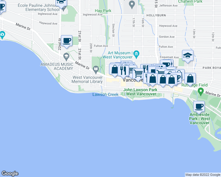 map of restaurants, bars, coffee shops, grocery stores, and more near 1872 Bellevue Avenue in West Vancouver