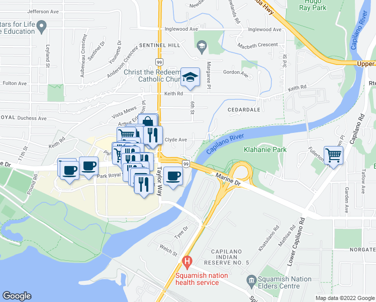 map of restaurants, bars, coffee shops, grocery stores, and more near 568 Waters Edge Crescent in West Vancouver