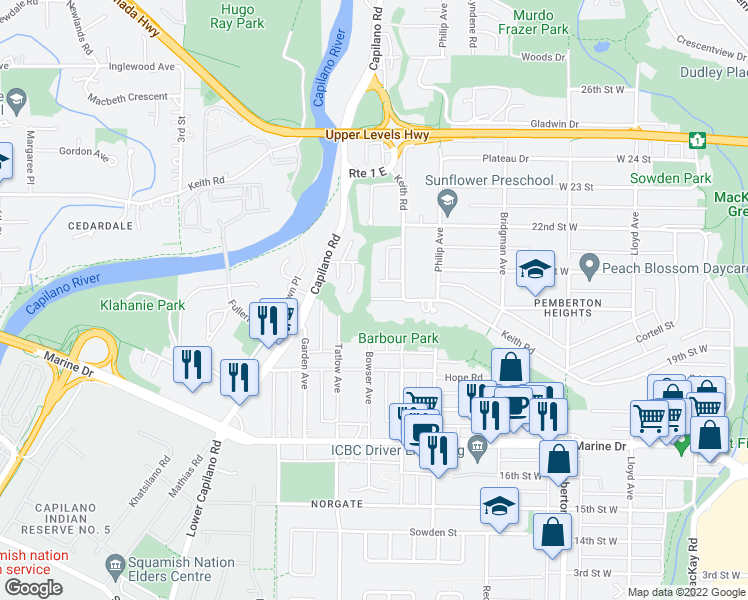 map of restaurants, bars, coffee shops, grocery stores, and more near 2190 Graveley Street in North Vancouver