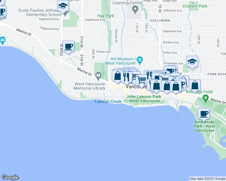 map of restaurants, bars, coffee shops, grocery stores, and more near 1875 Bellevue Avenue in West Vancouver