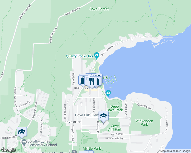 map of restaurants, bars, coffee shops, grocery stores, and more near 2200 Panorama Drive in North Vancouver