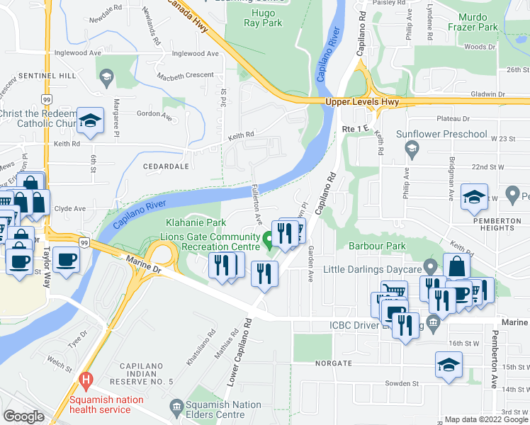 map of restaurants, bars, coffee shops, grocery stores, and more near 2035 Glenaire Drive in North Vancouver