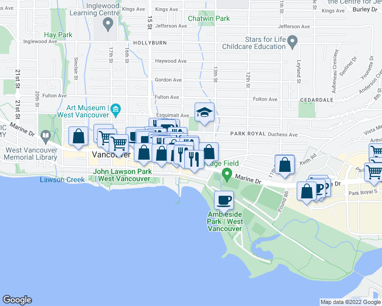 map of restaurants, bars, coffee shops, grocery stores, and more near 1370 Clyde Avenue in West Vancouver