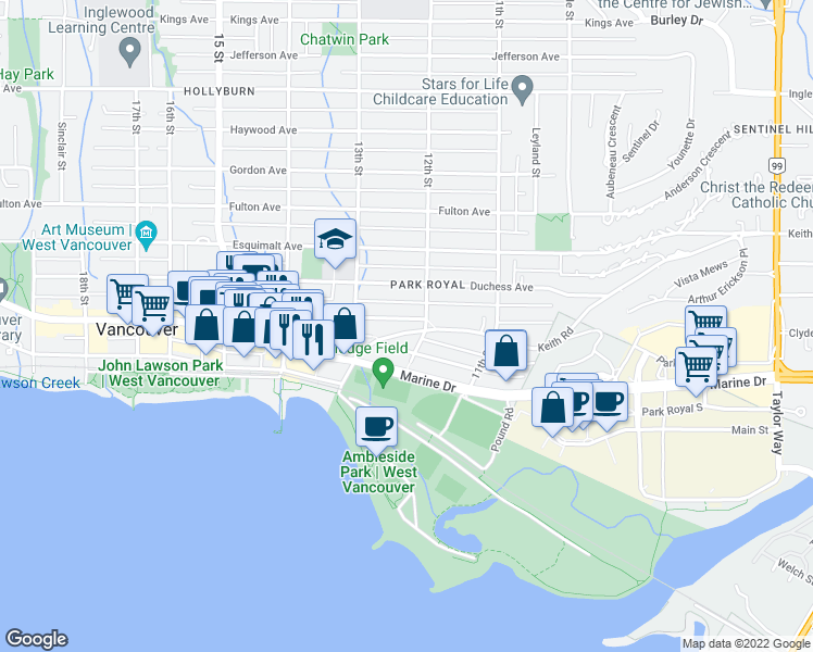 map of restaurants, bars, coffee shops, grocery stores, and more near 1219 Keith Road in West Vancouver