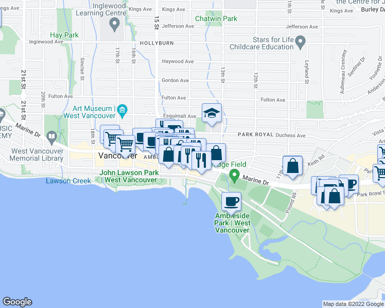 map of restaurants, bars, coffee shops, grocery stores, and more near 565 17th Street in West Vancouver