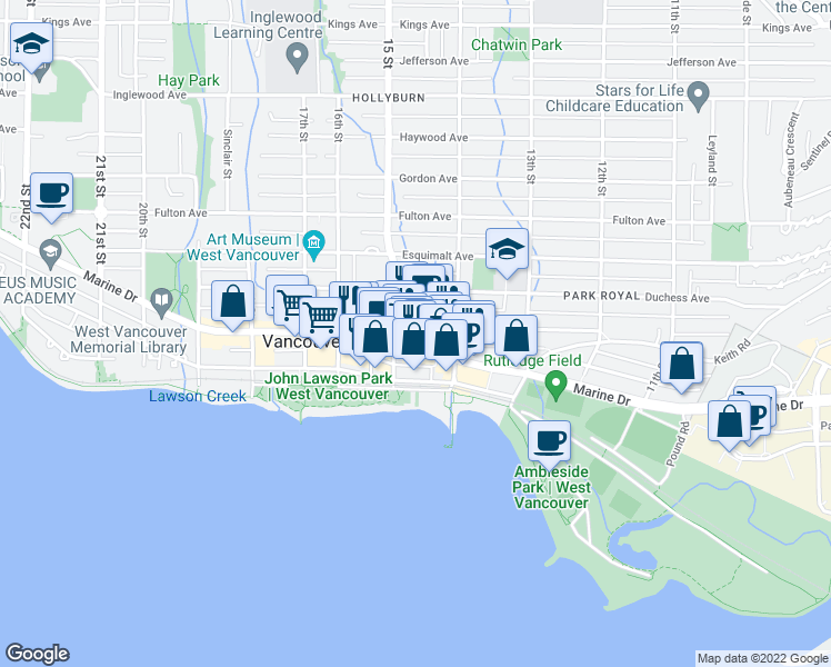 map of restaurants, bars, coffee shops, grocery stores, and more near 1469 Clyde Avenue in West Vancouver
