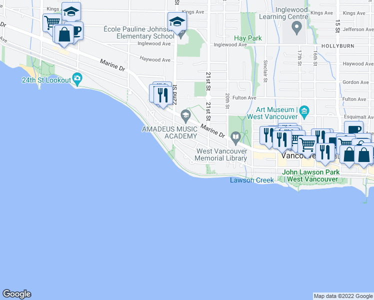 map of restaurants, bars, coffee shops, grocery stores, and more near 2165 Argyle Avenue in West Vancouver