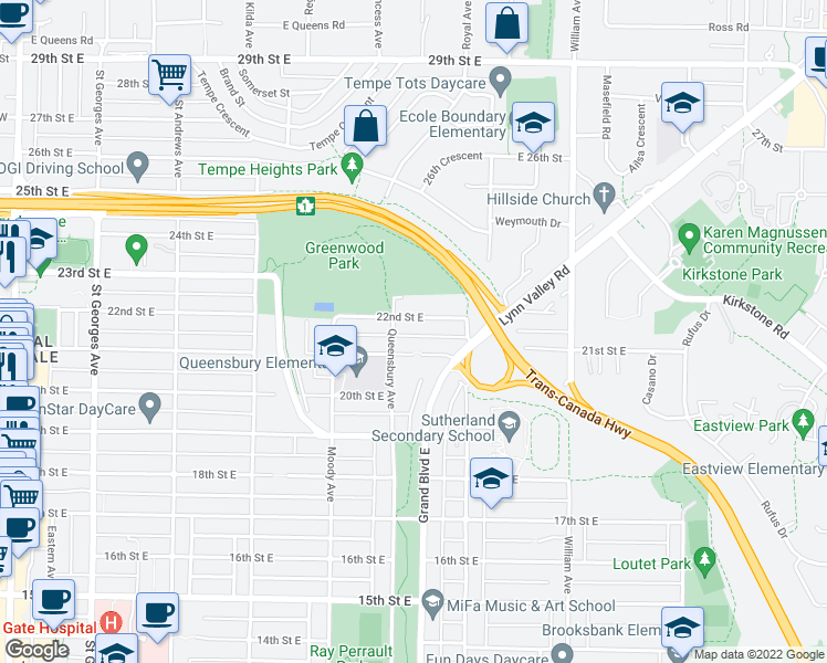 map of restaurants, bars, coffee shops, grocery stores, and more near 617 22nd Street East in North Vancouver