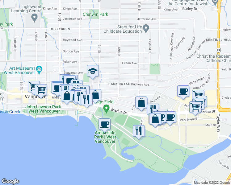 map of restaurants, bars, coffee shops, grocery stores, and more near 1209 Clyde Avenue in West Vancouver
