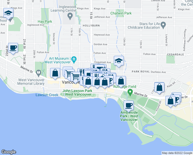 map of restaurants, bars, coffee shops, grocery stores, and more near 1471 Clyde Avenue in West Vancouver