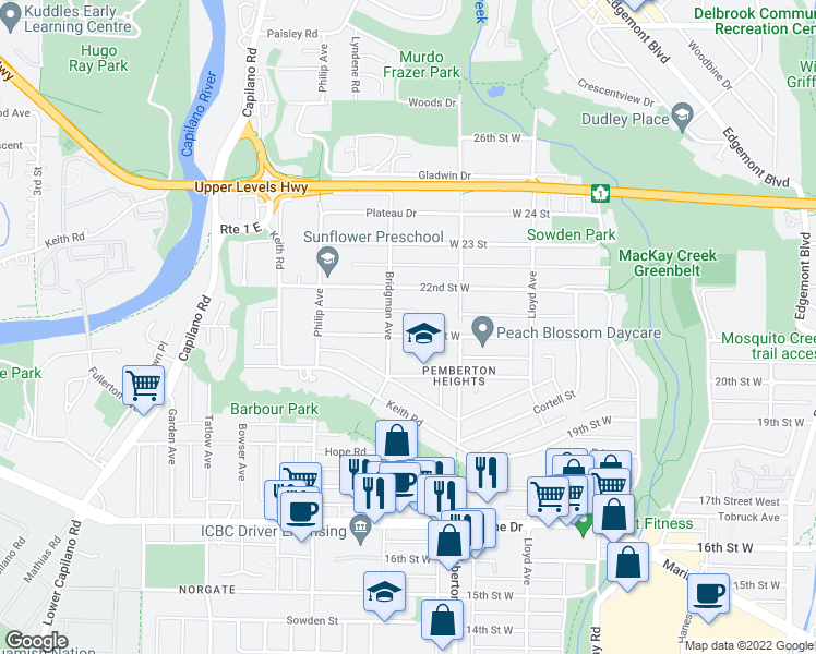 map of restaurants, bars, coffee shops, grocery stores, and more near 1280 21st Street West in North Vancouver