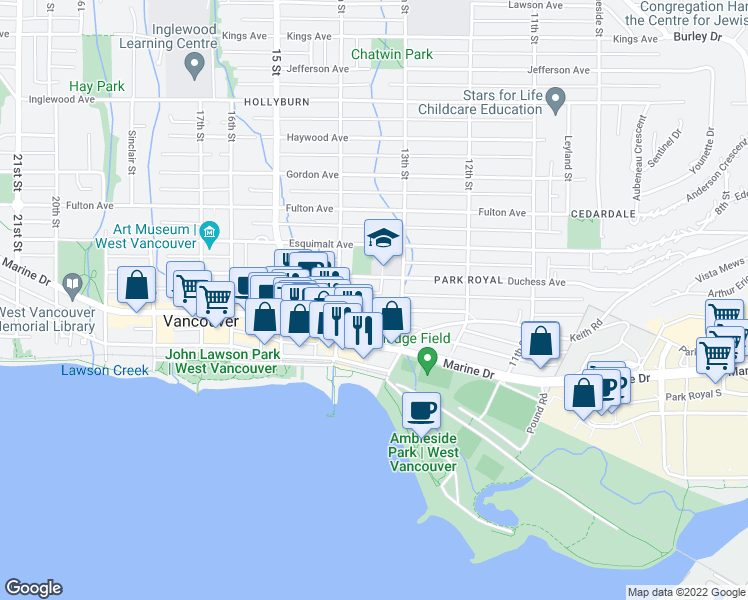 map of restaurants, bars, coffee shops, grocery stores, and more near 1341 Clyde Avenue in West Vancouver