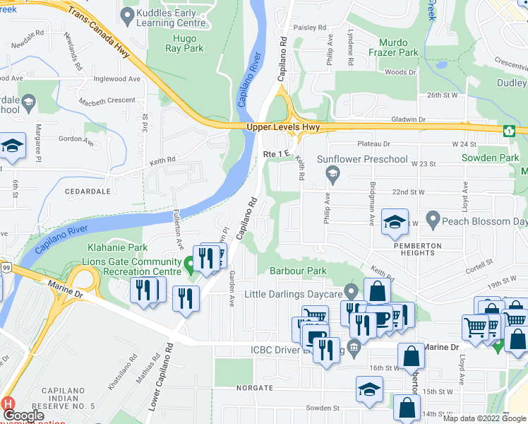 map of restaurants, bars, coffee shops, grocery stores, and more near in North Vancouver