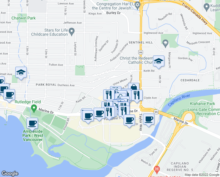 map of restaurants, bars, coffee shops, grocery stores, and more near 768 Arthur Erickson Place in West Vancouver