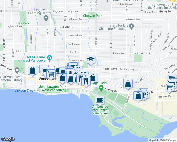 map of restaurants, bars, coffee shops, grocery stores, and more near 1340 Duchess Avenue in West Vancouver