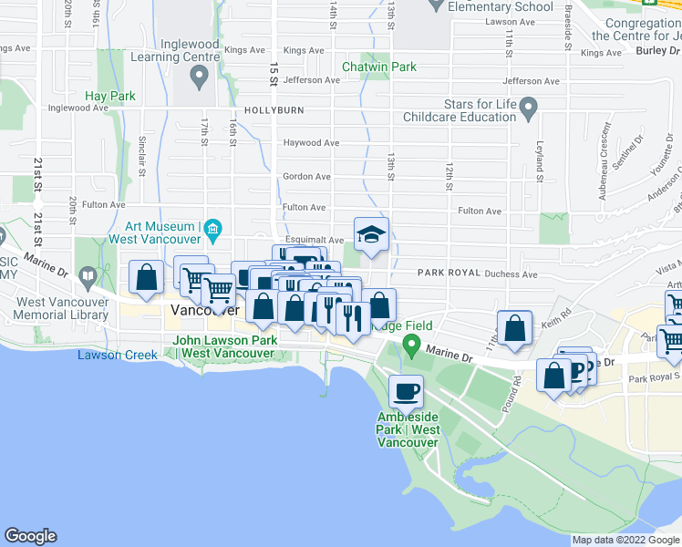 map of restaurants, bars, coffee shops, grocery stores, and more near 1390 Duchess Avenue in West Vancouver