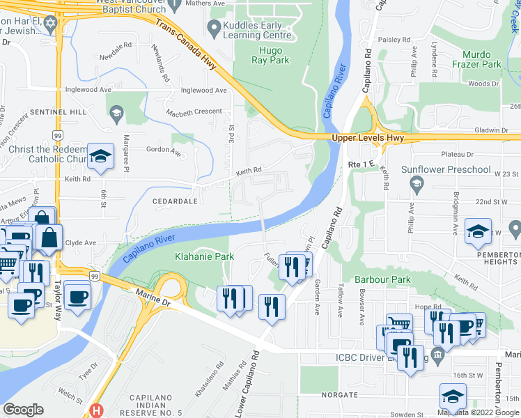 map of restaurants, bars, coffee shops, grocery stores, and more near 2012 Fullerton Avenue in North Vancouver