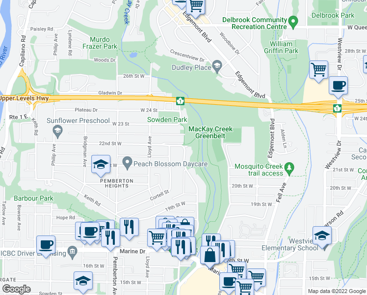 map of restaurants, bars, coffee shops, grocery stores, and more near West 22nd Street in Metro Vancouver