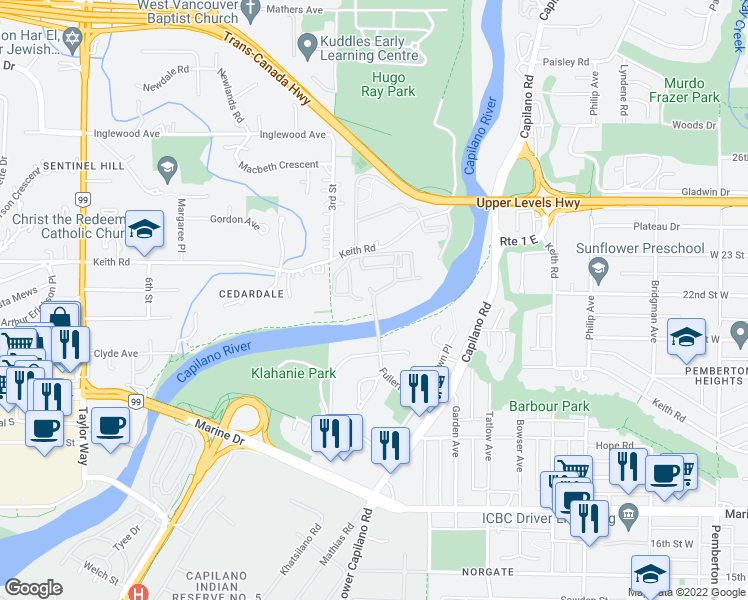 map of restaurants, bars, coffee shops, grocery stores, and more near 2024 Fullerton Avenue in North Vancouver