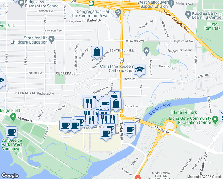 map of restaurants, bars, coffee shops, grocery stores, and more near 568 Arthur Erickson Place in West Vancouver