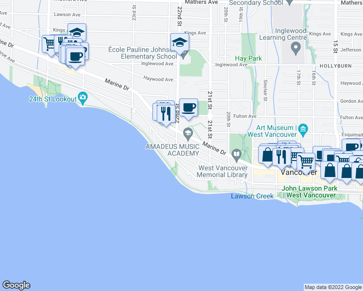 map of restaurants, bars, coffee shops, grocery stores, and more near 2187 Bellevue Avenue in West Vancouver