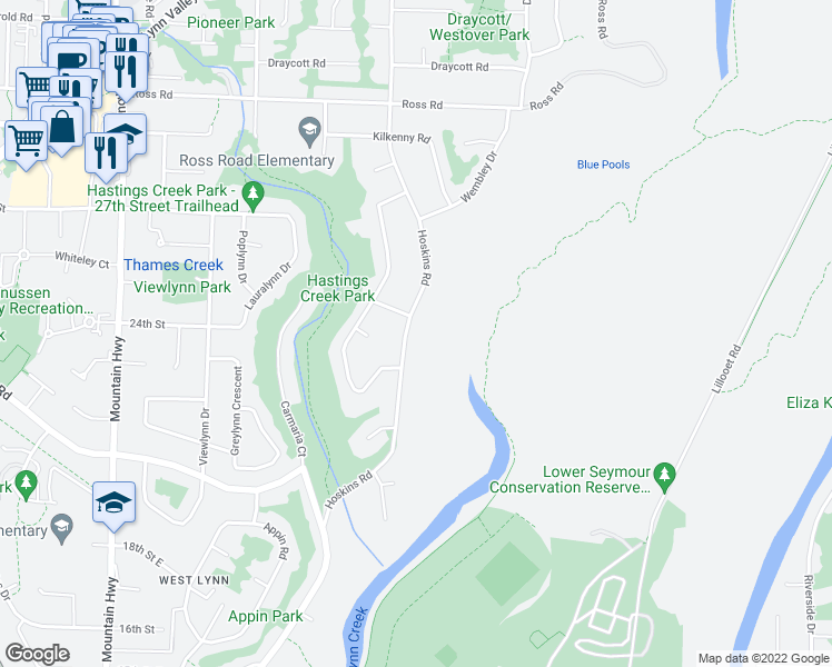 map of restaurants, bars, coffee shops, grocery stores, and more near 2416 Hoskins Road in North Vancouver