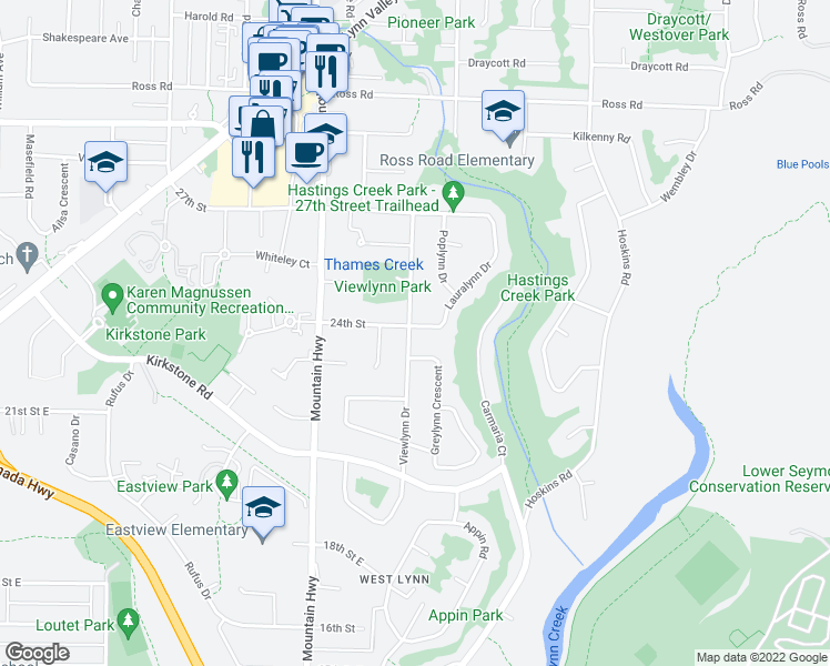 map of restaurants, bars, coffee shops, grocery stores, and more near 2402 Lauralynn Drive in North Vancouver