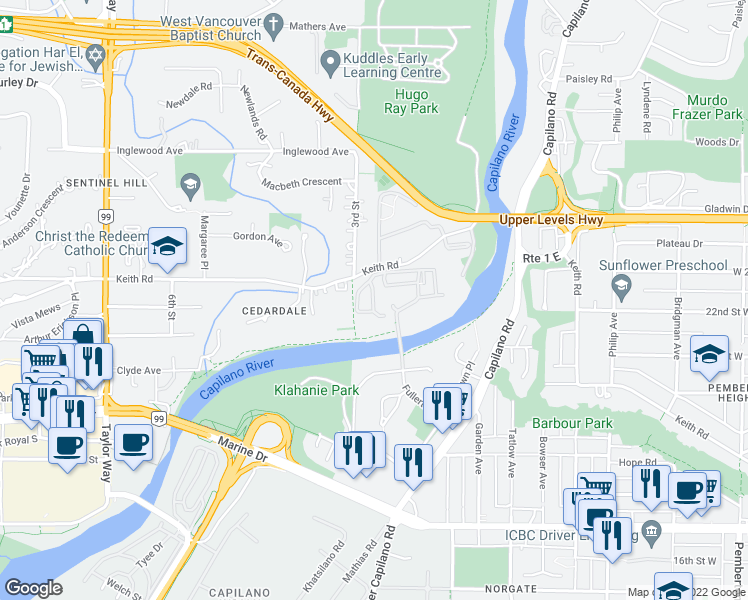 map of restaurants, bars, coffee shops, grocery stores, and more near 2020 Fullerton Avenue in North Vancouver
