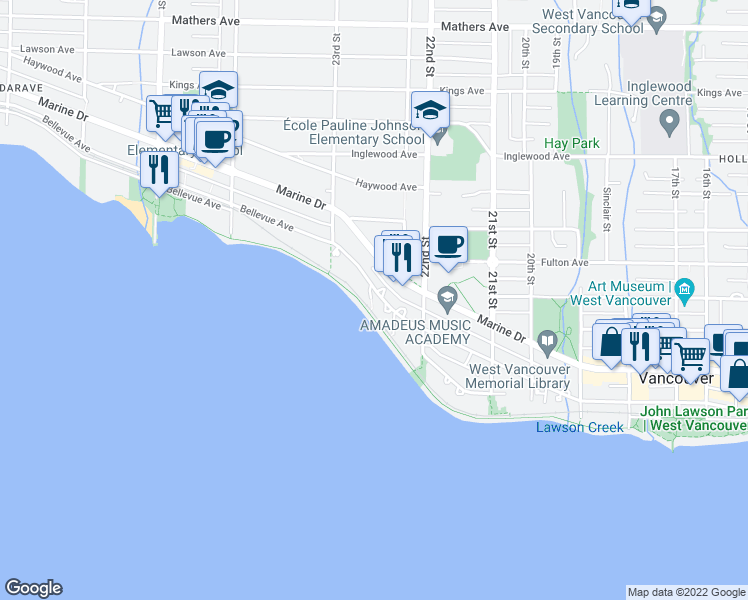 map of restaurants, bars, coffee shops, grocery stores, and more near 2246 Bellevue Avenue in West Vancouver