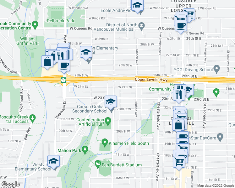 map of restaurants, bars, coffee shops, grocery stores, and more near 2316 Jones Avenue in North Vancouver