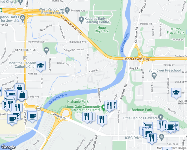 map of restaurants, bars, coffee shops, grocery stores, and more near 2016 Fullerton Avenue in West Vancouver