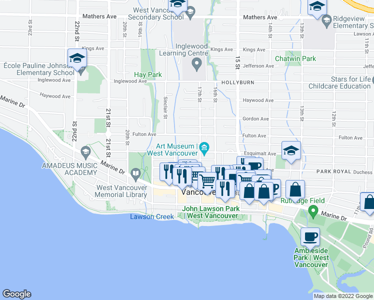 map of restaurants, bars, coffee shops, grocery stores, and more near 1745 Esquimalt Avenue in West Vancouver