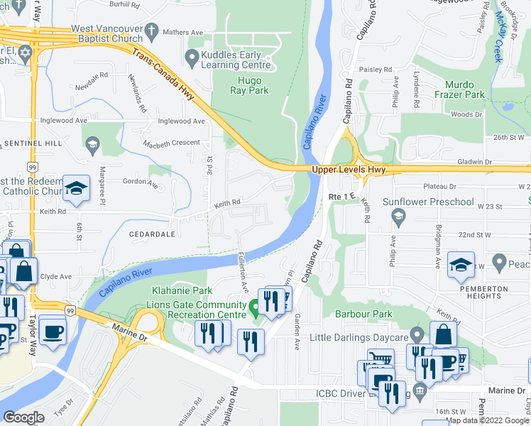 map of restaurants, bars, coffee shops, grocery stores, and more near 1906 Fullerton Avenue in North Vancouver