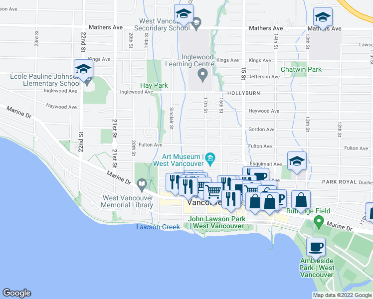 map of restaurants, bars, coffee shops, grocery stores, and more near 1788 Fulton Avenue in West Vancouver