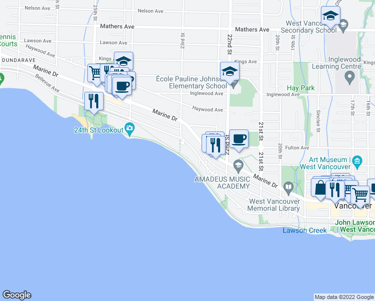 map of restaurants, bars, coffee shops, grocery stores, and more near 2280 Bellevue Avenue in West Vancouver