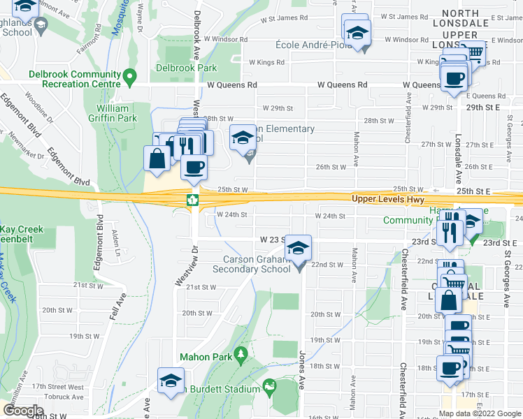 map of restaurants, bars, coffee shops, grocery stores, and more near 456 West 24th Street in North Vancouver