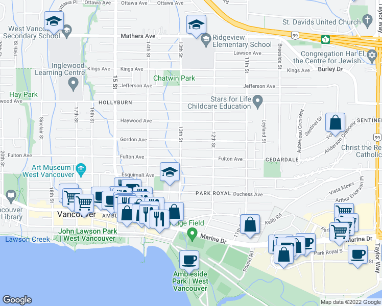 map of restaurants, bars, coffee shops, grocery stores, and more near 1271 Fulton Avenue in West Vancouver