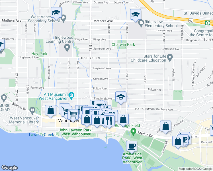 map of restaurants, bars, coffee shops, grocery stores, and more near 1405 Fulton Avenue in West Vancouver