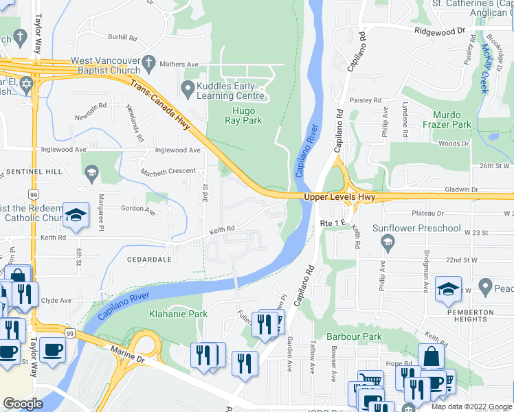map of restaurants, bars, coffee shops, grocery stores, and more near 235 Keith Road in West Vancouver