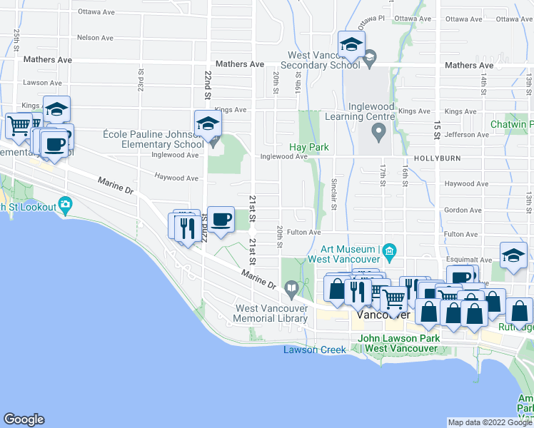 map of restaurants, bars, coffee shops, grocery stores, and more near 2048 Gordon Avenue in West Vancouver