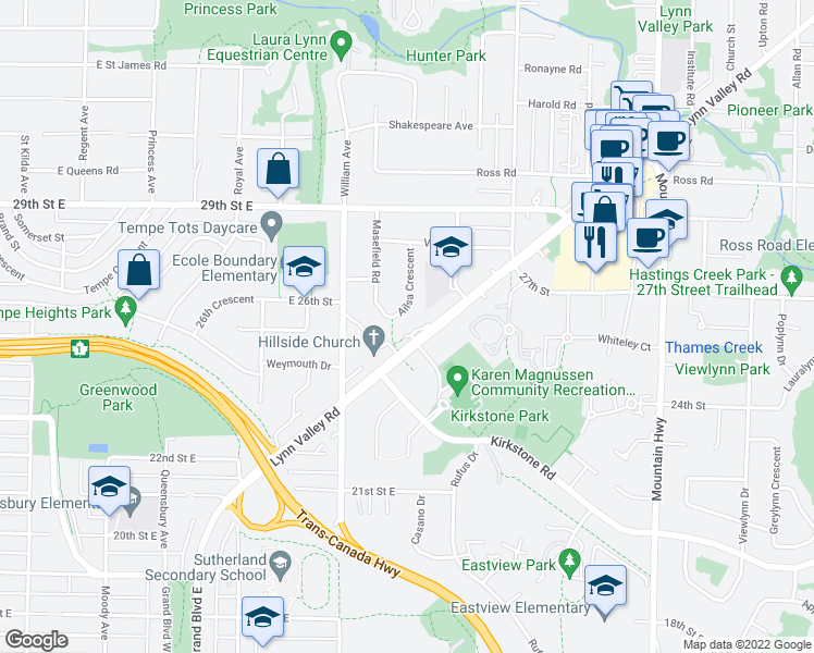 map of restaurants, bars, coffee shops, grocery stores, and more near 940 Lynn Valley Road in North Vancouver