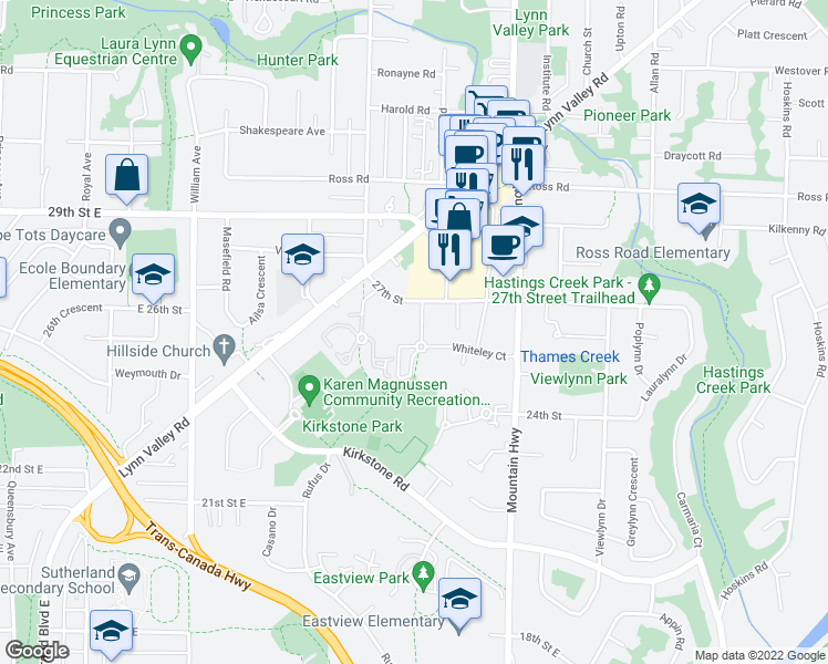 map of restaurants, bars, coffee shops, grocery stores, and more near 2601 Whiteley Court in North Vancouver