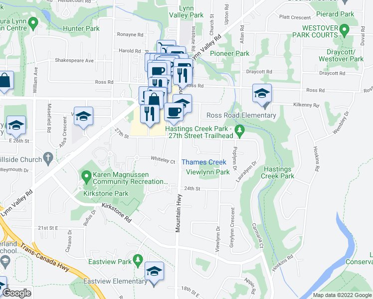 map of restaurants, bars, coffee shops, grocery stores, and more near 2688 Mountain Highway in North Vancouver