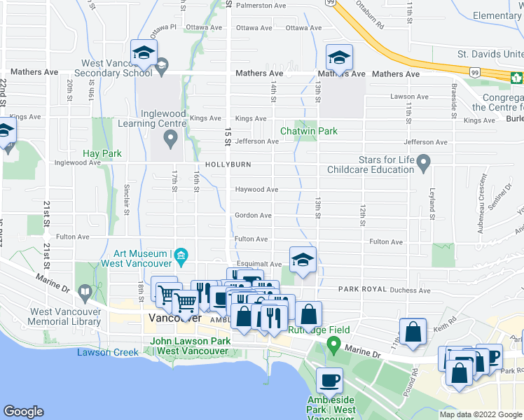 map of restaurants, bars, coffee shops, grocery stores, and more near 1421 Gordon Avenue in West Vancouver