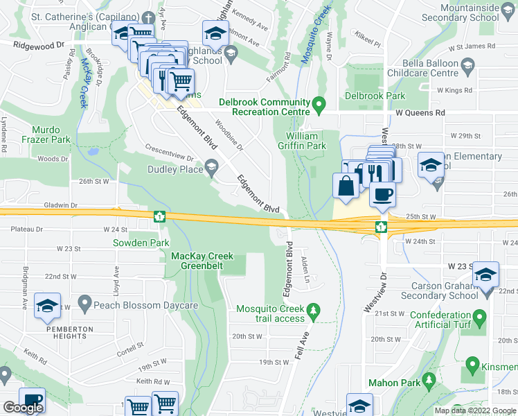 map of restaurants, bars, coffee shops, grocery stores, and more near 2505 Edgemont Boulevard in North Vancouver