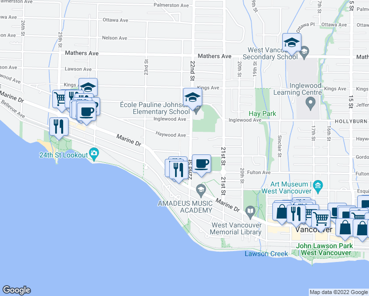 map of restaurants, bars, coffee shops, grocery stores, and more near 931 22nd Street in West Vancouver