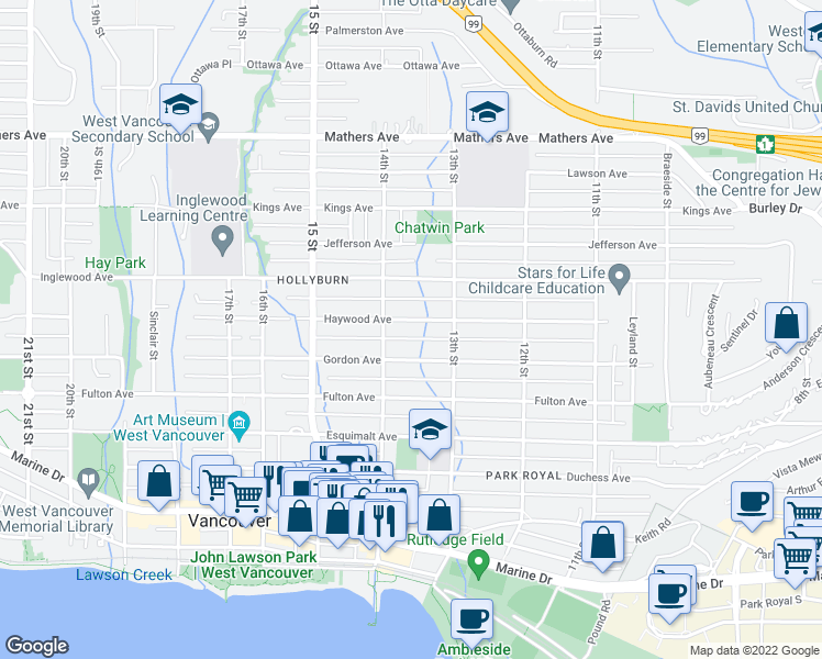 map of restaurants, bars, coffee shops, grocery stores, and more near 1362 Haywood Avenue in West Vancouver